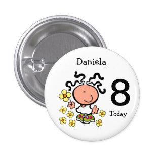 Botón del nombre y de la edad del cumpleaños del d