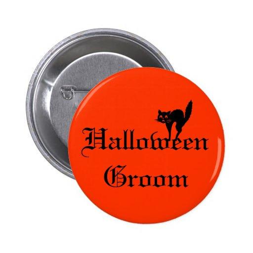 Botón del novio de Halloween con el gato negro - n Pin