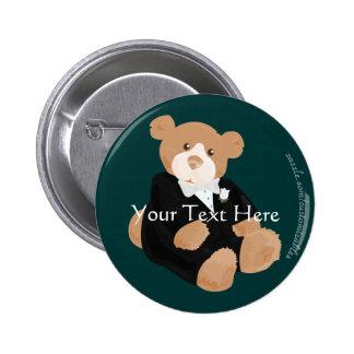 Botón del novio de Teddybear Pin Redondo De 2 Pulgadas