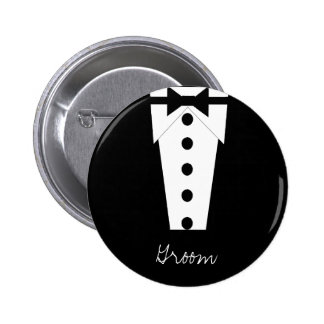 Botón del novio pin redondo de 2 pulgadas