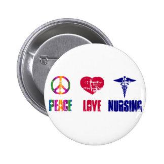 Botón del oficio de enfermera del amor de la paz pin