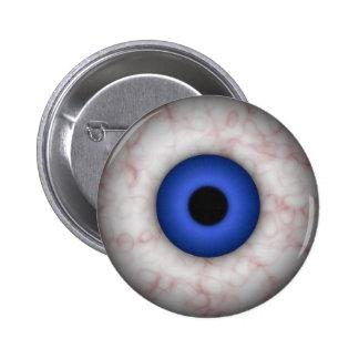 Botón del ojo azul pin redondo de 2 pulgadas