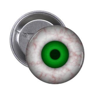 Botón del ojo verde pin redondo de 2 pulgadas