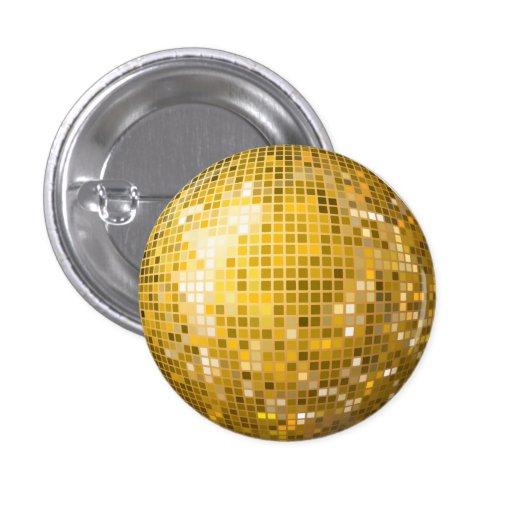 Botón del oro de la bola de discoteca pin