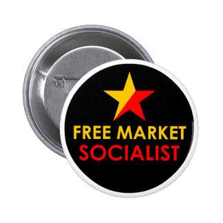 Botón del oro/del socialista del mercado libre del pin redondo de 2 pulgadas