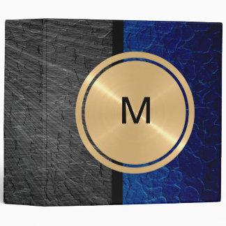"""Botón del oro y metal azul del acero inoxidable carpeta 2"""""""