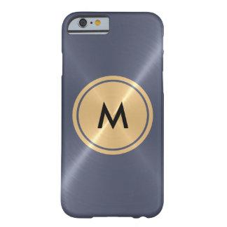 Botón del oro y metal gris del acero inoxidable funda para iPhone 6 barely there