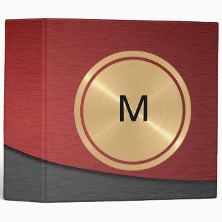 """Botón del oro y metal gris rojo del acero carpeta 2"""""""