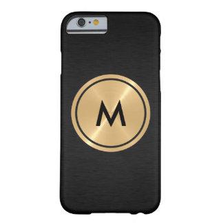 Botón del oro y metal negro del acero inoxidable funda para iPhone 6 barely there
