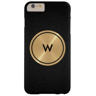 Botón del oro y metal negro del acero inoxidable funda para iPhone 6 plus barely there