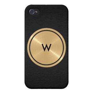 Botón del oro y metal negro del acero inoxidable iPhone 4/4S carcasas