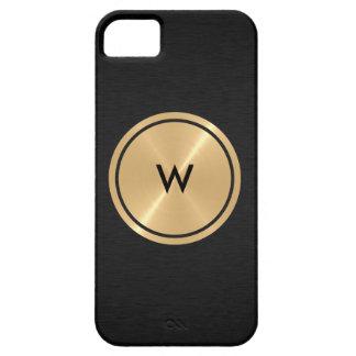Botón del oro y metal negro del acero inoxidable iPhone 5 carcasa