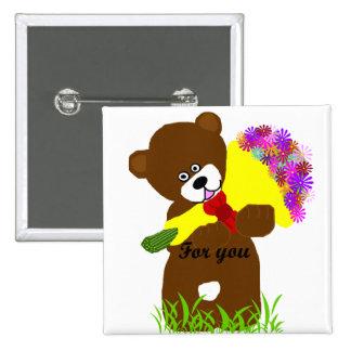 Botón del oso de la entrega de la flor pin cuadrado