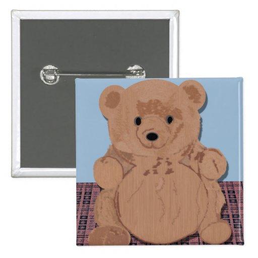 Botón del oso de Wes T Pin Cuadrado