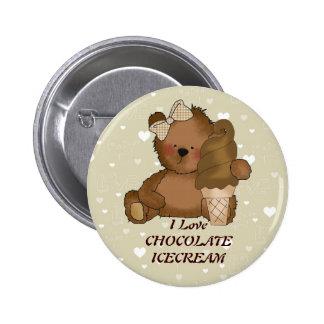 Botón del oso del helado de chocolate pin