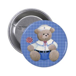 Botón del oso del marinero pin redondo de 2 pulgadas