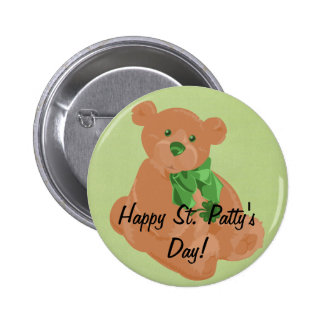 Botón del oso del St. Pat Pin Redondo De 2 Pulgadas