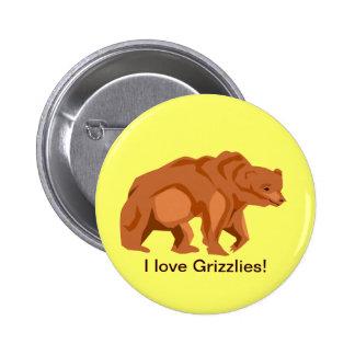 Botón del oso grizzly pin redondo de 2 pulgadas
