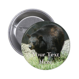 Botón del oso negro pin redondo de 2 pulgadas