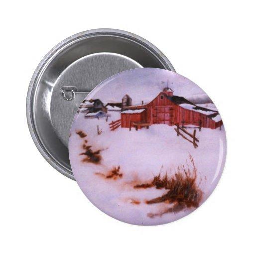 Botón del paisaje del invierno pin redondo de 2 pulgadas