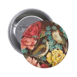 Botón del pájaro del Victorian Pin Redondo De 2 Pulgadas