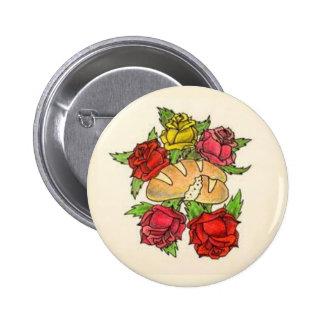 Botón del pan y de los rosas pin redondo de 2 pulgadas
