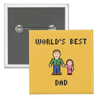 Botón del papá del mundo del pixel el mejor