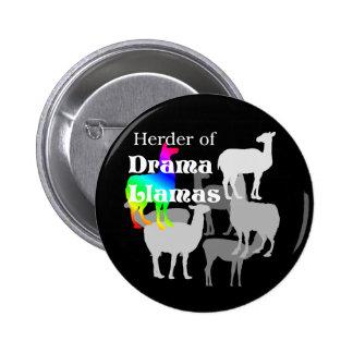 Botón del pastor de la llama del drama pin redondo de 2 pulgadas