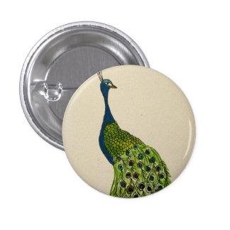 botón del pavo real pin redondo de 1 pulgada