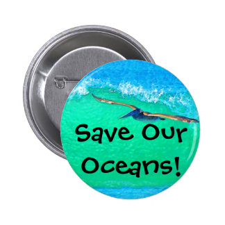 Botón del pelícano de Surfin Pin Redondo De 2 Pulgadas