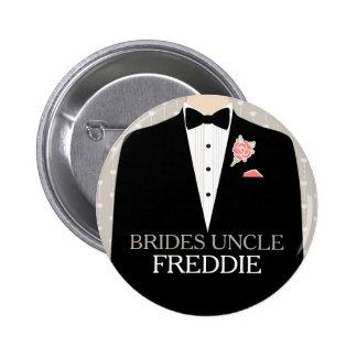 Botón del perno del boda del nombre del smoking de