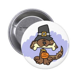 Botón del perrito de la acción de gracias pin