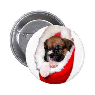 Botón del perrito del boxeador del día de fiesta pins
