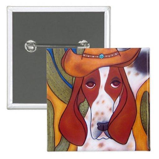 botón del perro del desierto de Bungalowart.com Pin Cuadrado