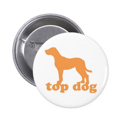 Botón del perro superior en blanco