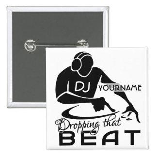Botón del personalizado de DJ Pin Cuadrado