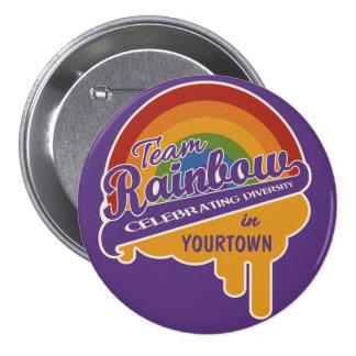 Botón del personalizado del arco iris del equipo pin redondo de 3 pulgadas