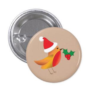 Botón del petirrojo del navidad pin redondo de 1 pulgada