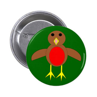Botón del petirrojo del navidad pin redondo de 2 pulgadas