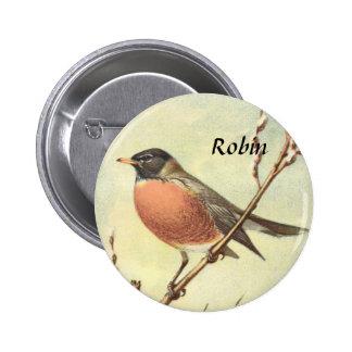 Botón del petirrojo del vintage pin redondo de 2 pulgadas