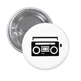 """Botón del pictograma de """"Boombox"""" Pin Redondo De 1 Pulgada"""