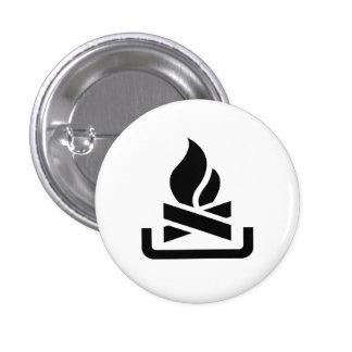 """Botón del pictograma de la """"hoguera"""" pin redondo de 1 pulgada"""