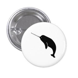 Botón del pictograma de Narwhal Pin Redondo De 1 Pulgada