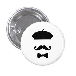 Botón del pictograma del bigote y de la boina pin redondo de 1 pulgada