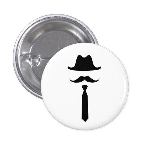 Botón del pictograma del gorra del bigote y de vaq