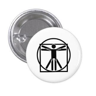 Botón del pictograma del hombre de Vitruvian Pin Redondo De 1 Pulgada