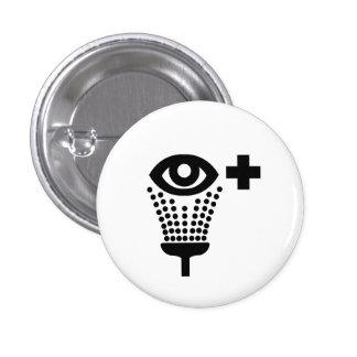 """Botón del pictograma del lavado del ojo"" Pin Redondo 2,5 Cm"