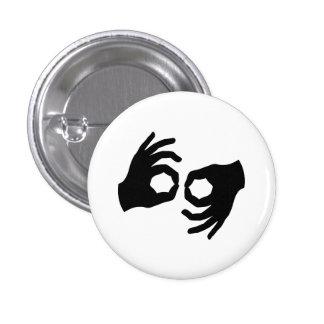 Botón del pictograma del lenguaje de signos pin redondo de 1 pulgada