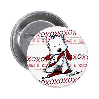 Botón del Pin de Westie de los besos y de los abra