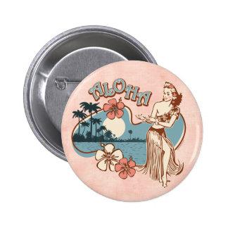 Botón del Pin del chica de Hula de la hawaiana